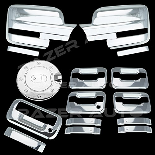 (Razer Auto Triple Chrome Plated Mirror Cover (Does Not Fit on Towing Mirror), 4 Door Handle Cover Without Keypad And without Passenger Keyhole, Tailgate Handle, Gas Door Cover for 09-14 Ford F150)