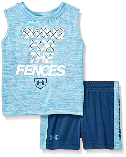 (Under Armour Boys' Baby UA Muscle Tank and Short Set, Ether Blue-S19,)