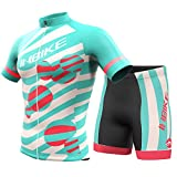 INBIKE Women's Summer Breathable Cycling Jersey and 3D Silicone Padded Shorts Set Outfit, Mint Green, (US)S-(CN)L