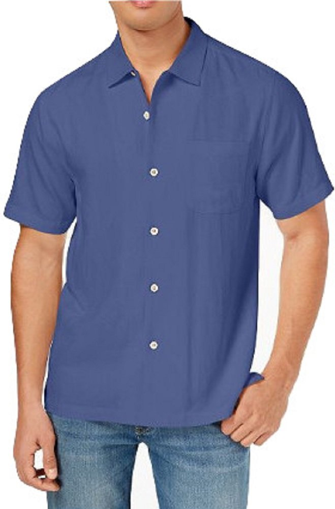 Tommy Bahama Weekend Tropics Silk Camp Shirt (Color Navy, Size XL)