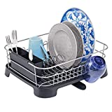 Cheap mDesign Large Kitchen Countertop, Sink Dish Drying Rack with Removable Cutlery Tray and Drainboard with Adjustable Swivel Spout – 3 Pieces, Silver Wire/Black Plastic Cutlery Caddy and Drainboard