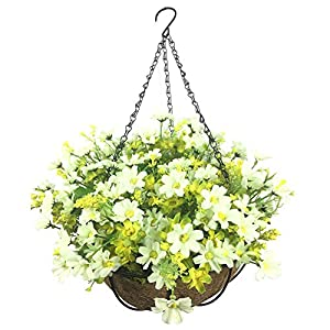 Lopkey Artificial Daisy Flowers Outdoor Indoor Patio Lawn Garden Hanging Basket with Chain Flowerpot,10 inch White 1