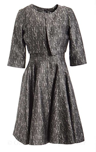 b Michael America Women's Textured Metallic Collarless Jacket And Dress Set 6 - Cropped Textured Jacket Dress