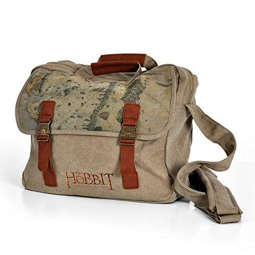 Hobbit Mittelerde Tasche Canvas Messenger Bag 34x29x9cm mit Messing Steckverschluss Tragegriff Schultergurt Baumwolle