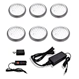 macLEDs ultra low profile POP series 6 piece puck light kit with plug in type power supply and dimmer switch