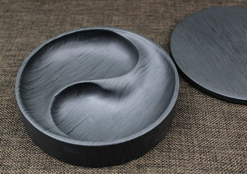 Easyou She Yan Taiji Ink Stone Chinese Calligraphy Round Inkstone Bagua Natural Stone Wavy with Cover 4""
