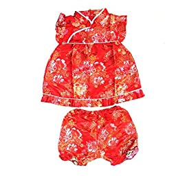 Buenos Ninos Girls Short Sleeve Cheongsam Baby Qipao Patterned Cloth Set Red Peony S
