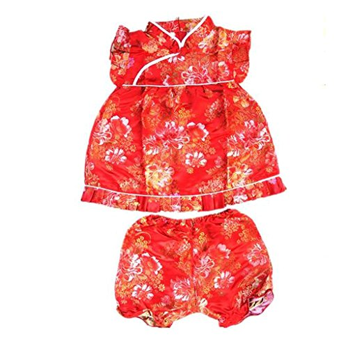 (Buenos Ninos Girls Short Sleeve Cheongsam Baby Qipao Patterned Cloth Set Red Peony M)