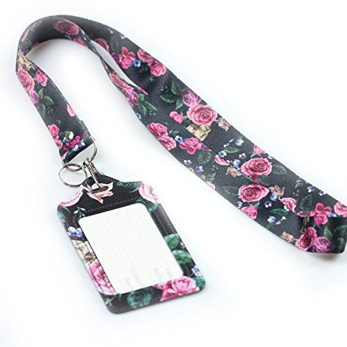 Lanyard With ID Holder, Lizimandu PU Leather Slim Credit Card Holder ID Card Badge Case Holder Useful Purse with Neck Strap(Black_Rose)