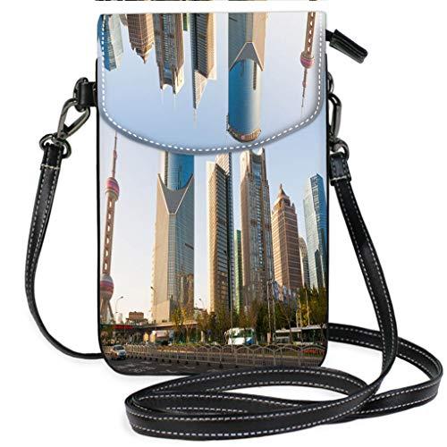 (Custom Trendy Shoulder Crossbody Bag Shanghai Oriental Pearl and Skyscrapers Casual, Lightweight Multi Pockets Crossbody Bag)