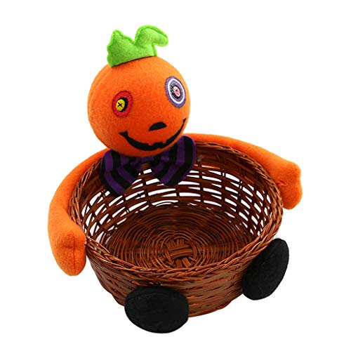 cici store Halloween Pumpkin Candy Storage Bamboo Basket,Cookie Snacks Holder Bowl for Bar Home Party Decor