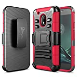 Moto G4 Play Case, Nagebee - High Impact Resistant Black Dual Layer Armor Holster with Belt Clip Case for Motorola Moto G4 Play(2016) Release (Red)