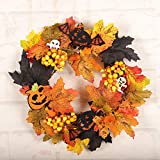 Home Decor,Home Decorations for Living Room 35cm Rattan Berry Maple Leaf Fall Door Wreath Door Wall Ornament Halloween