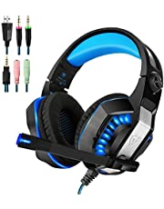 Xbox One Headset | PS4 Headset | Xbox One S Gaming Headset with Microphone VOTRON Over Ear Stereo Gaming Headphones with LED Light Noise Reduction for Xbox One PS4 PC Mac iPad PSP Mobile Phones (blue)