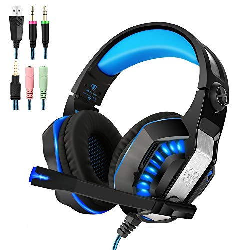 PS4 Gaming Headset | Xbox One Headset |Xbox One S Headset with Microphone VOTRON Over Ear Stereo Gaming Headphones with LED Light Noise Reduction for Xbox One PS4 PC Mac iPad PSP Headphones (blue) ()
