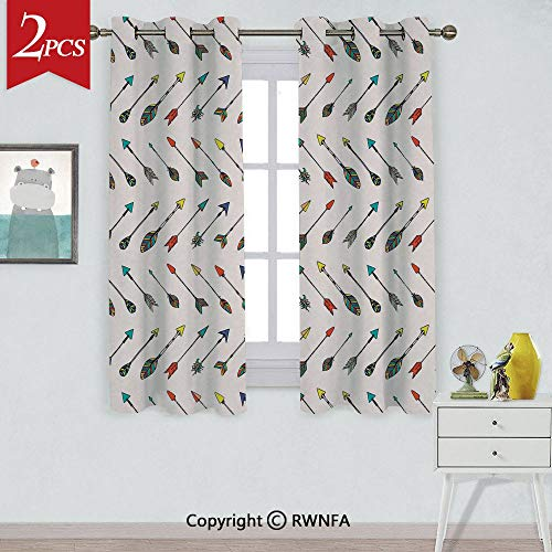 RWNFA Thermal Insulated Blackout Curtain Arrows Bright Colored Arrowheads Arrowtails Pattern Decorative Art Decorative Window Curtains,2 Panels,Each Panel Size is,W52xL84 Inch, ()