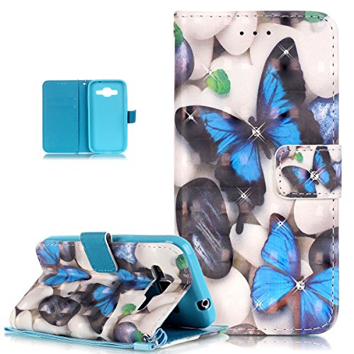 Price comparison product image Galaxy Core Prime Case,ikasus Shiny Glitter Diamond Colorful Art Painting PU Leather Flip Wallet Pouch Stand Credit Card ID Holders Case Cover for Samsung Galaxy Core Prime G360F,Blue Butterfly
