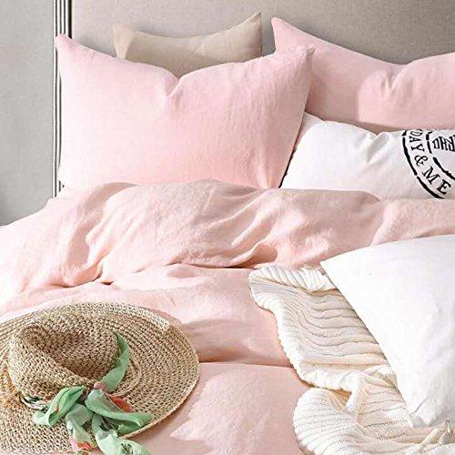 Merryfeel 100% Linen Duvet Cover Set - Full/Queen - Light Pink