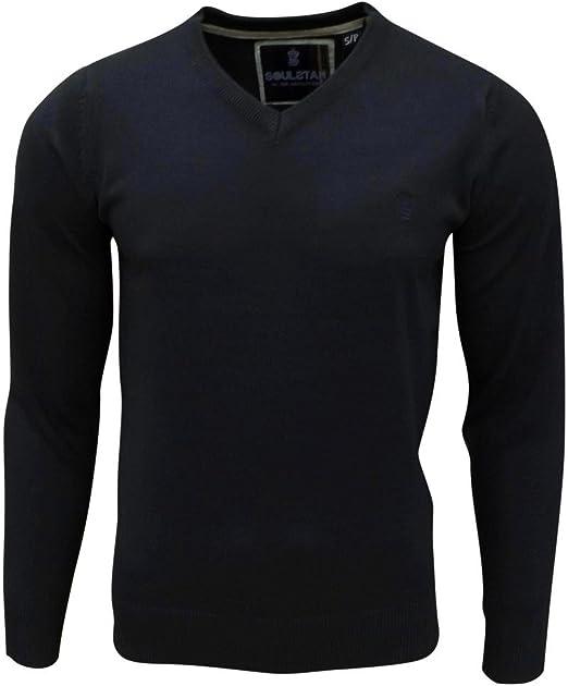 Soul Star Men/'s Alpha Vee V-Neck Knitted Jumper Black