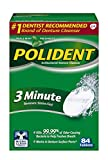 Polident 3-Minute Anti-Bacterial Denture Cleanser Tablets, Triple Mint Fresh, 84 Count (Pack of 3)