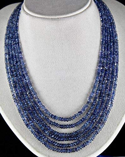 - Natural Blue Iolite Round Beads Necklace 6 MM to 4 MM 18 INCH Strand. by Gemswholesale