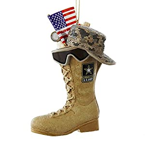 Kurt Adler U.S. Army Boot with U.S.A Flag and Icons Christmas Ornament