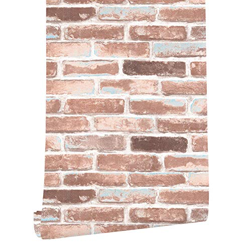 (HaokHome H018 Faux Brick Wallpaper Peel and Stick Rust Red/Blue/White Self Adhesive 0.53m x 6m Prepasted Contact Paper Wall Decoration)