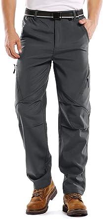 Amazon Com Hubunucc Pantalones Para Hombre De Tejido Softshell Y Forro De Polar Impermeables Rompevientos Termicos Para Exteriores Senderismo Esqui Montanismo Sports Outdoors