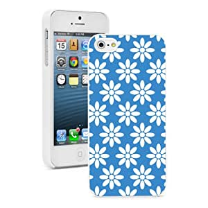 Apple iPhone 6 6s Hard Back Case Cover Blue Daisy Flowers Design (White)