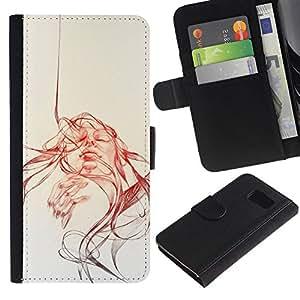 All Phone Most Case / Oferta Especial Cáscara Funda de cuero Monedero Cubierta de proteccion Caso / Wallet Case for Samsung Galaxy S6 // Sun Watercolor Sepia Sketch