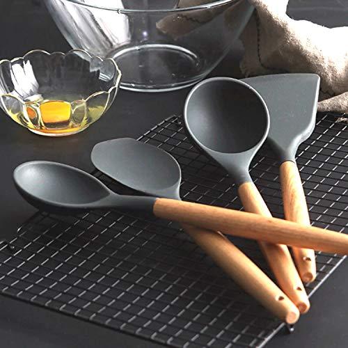 FOOLS ALIBAI Silikon-Kochutensilien-Set Küchenutensilien-Set 11-teiliges Besteckset, BPA-frei für Antihaft, hitzebeständig, leicht zu reinigen, Silikon-Kochgeschirr-Set mit Halter, 10 S-Haken, grau