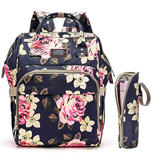Diaper Bag Backpack, Multifunction Travel Baby Bag Waterproof Baby Nappy Bag Large Capacity with Insulated Water Bottle Bag/Changing Pad for Women/Girls/Mum (Peony Flower)