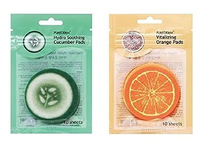 Purederm – Vitalizing naranja almohadillas + Hydro pepino almohadillas juego para hombre y mujer – para