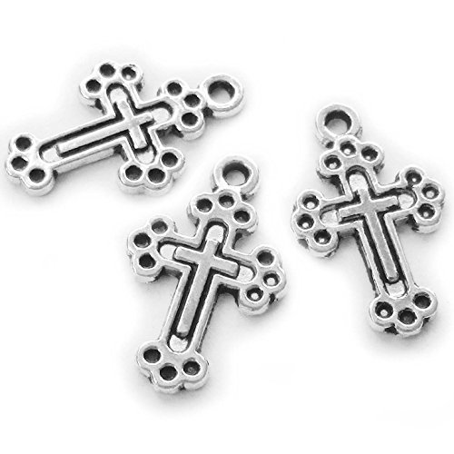 Heather's cf 108 Pieces Silver Tone Cross Beads DIY Charms Pendants 19X12mm