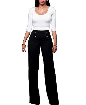 414000b497031 Doris Women High Waist Sailor Wide Leg Pants Button Design Pants at ...