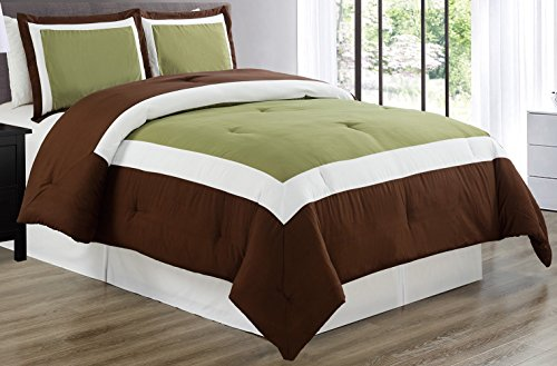 3 piece SAGE GREEN / BROWN / WHITE Goose Down Alternative Color Block Comforter set, KING / CAL KING size Microfiber bedding, Includes 1 Comforter and 2 Shams