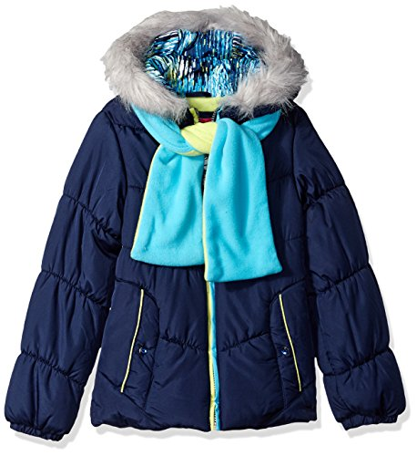 (London Fog Girls' Big Puffer Jacket with Accessory, New Navy/Green Scarf, 14/16)