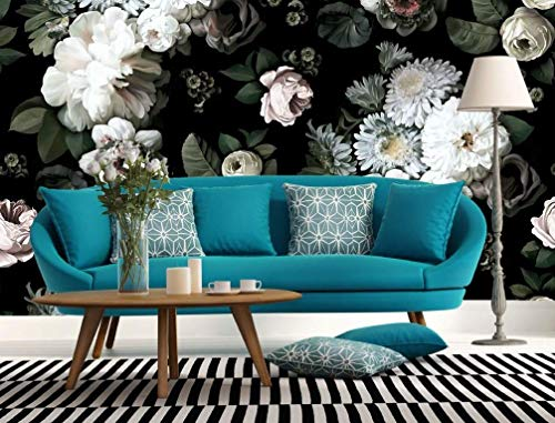 Wallpaper Plant Floral - Murwall Dark Floral Wallpaper White Peony Blossom Wall Mural Flower Wall Print Classic Home Decor Cafe Design