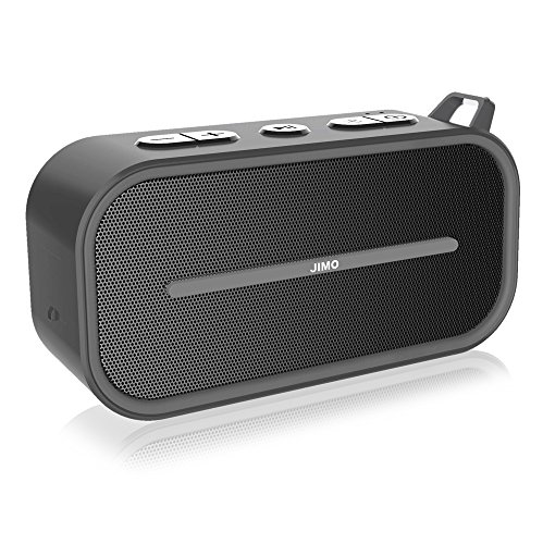 Bluetooth Speaker Portable Wireless Mini Speaker by JIMO (Clear Loud Sound, Splash Proof, Built-in Mic, Aux-in, SD card support, Dual-Driver, Ideal for Beach, Travel, Yoga, Indoor, Outdoor) Gray