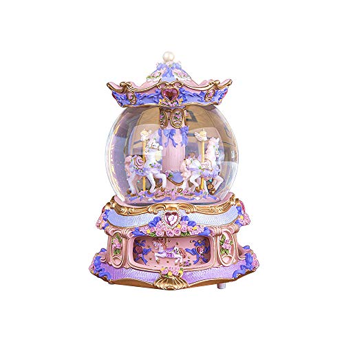 LOHOME Rococo Style Rotate Music Box Luxury Color Change LED Light Luminous Rotating 3-Horse Carousel Horse Crystal Ball Castle Perfect Christmas Birthday Gift Valentine