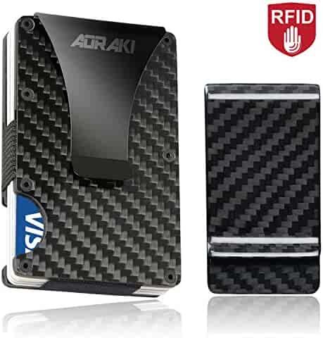 Minimalist Carbon Fiber Wallet - RFID Blocking Slim Wallet and Money Clip, Front Pocket Wallets for Men, Credit Card Holder, Great Gear for Everyday Carry or Outside Hiking up a Hill Ridge, Maintenance Kit Included