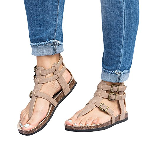 Womens Gladiator Sandals Flip Flop Straps Summer T-Strap Thong Roman Flat Shoes