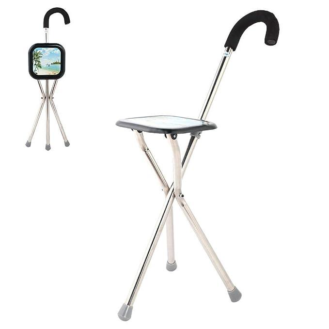 Leisurewise Walking Stick Stool Folding Travel Seat Stool