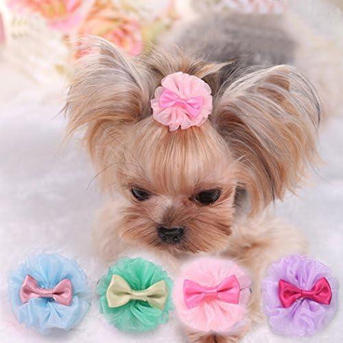 Wodwad 10 Pcs Pet Hair Clip Bow Knot Grooming Headdress Dog Cat Decoration Accessories