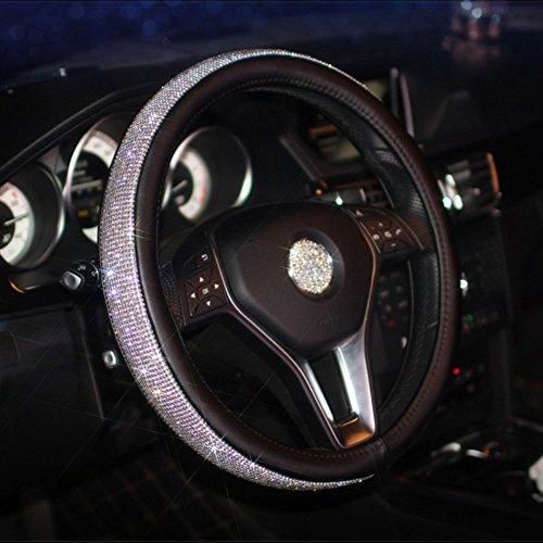 KiShi Car Leather Steering Wheel Cover Universal Breathable Anti-Slip Wheel Sleeve Protector (Rhinestones (Black) (Hot Pink Swarovski Crystals)