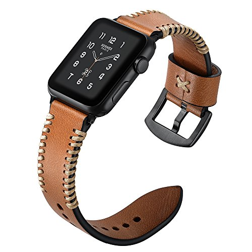 Compatible Apple Watch (Including iwatch 4), Unique Leather Loop Apple iwatch Series 4 Series 1 2 3 Sports Edition 38mm 40mm Brown Strap Black Clasp Elegant Luxury Replacement Wrist Band