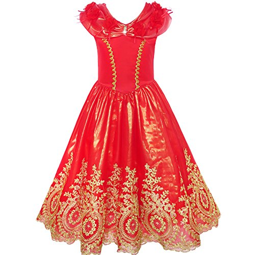 Girls Dress Red Princess Costume Maxi Fancy Wedding Pageant Size 8 by Sunny Fashion