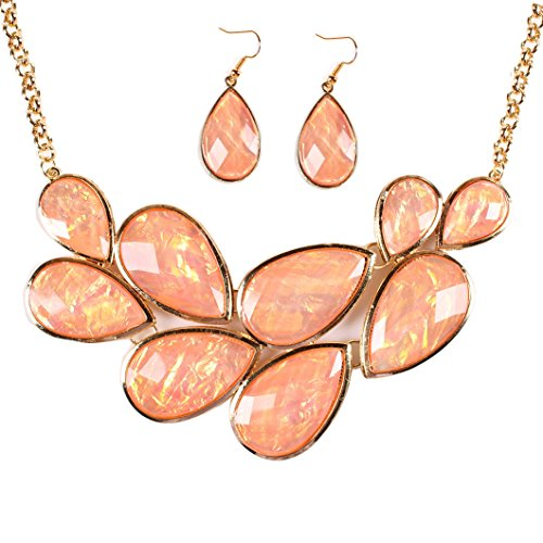 Zthread Fashion Collar Necklace Gold Tone Statement Chunky Jewelry Necklace Earring Set for Women (Pale Pink)