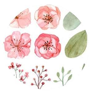 alfombrilla de ratón Conjunto de flores y hojas - ronda - 20cm