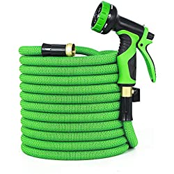 GarenJoy Expandable Garden Hose, 50ft Water Hose with 3/4 Heavy Duty Solid Brass Connector, 3300D Strong Stretch Fabric with 9 Function High Pressure Spray Nozzle Flexible Expanding Hose, Green